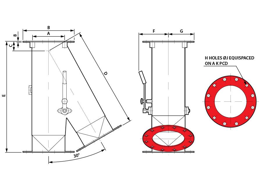 0x30 Round Manual Gravity Diverter Valve Diagram