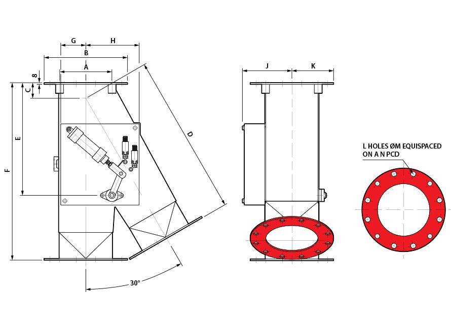 0x30 Round Pneumatic Gravity Diverter Valve Diagram
