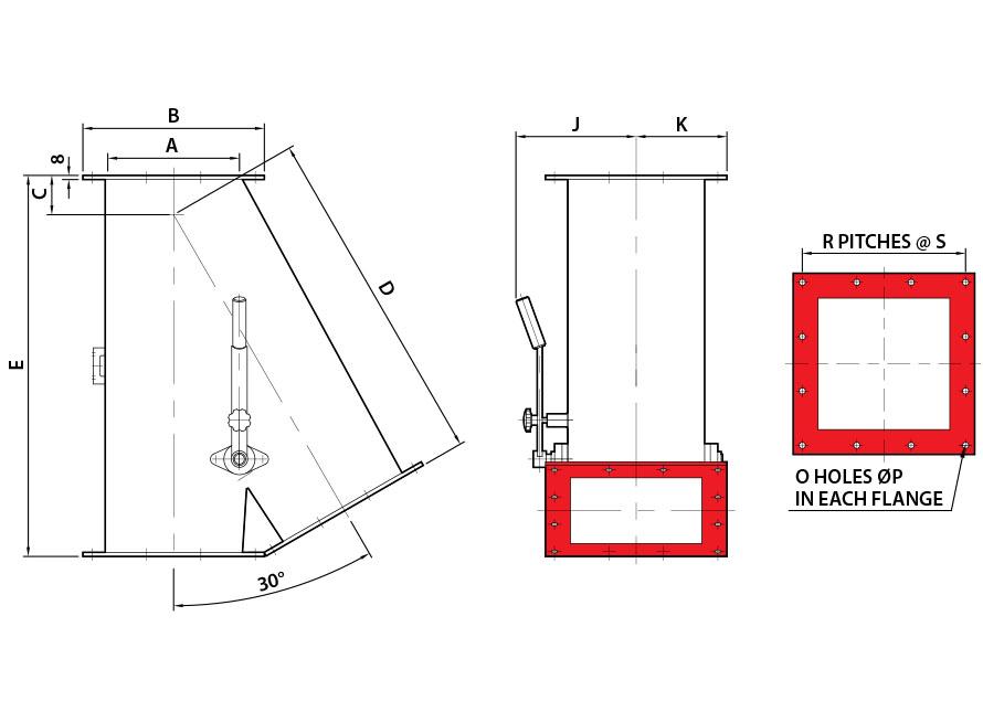 0x30 Square Manual Gravity Diverter Valve Diagram