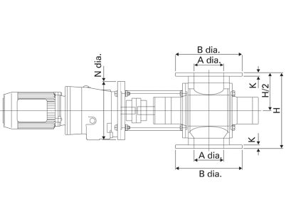 Hygienic Rotary Valve Kleanlok Technical Drawing