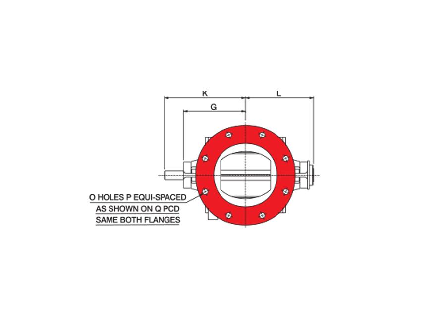 Round Oddball Rotary Valve Technical Drawing