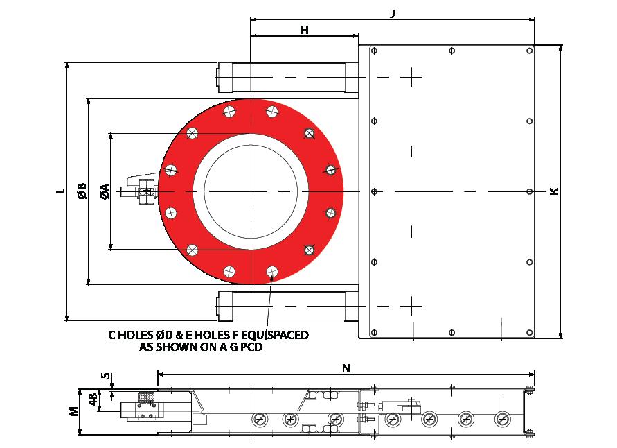 Slide Valve - Double Pneumatic - Circular GA-01