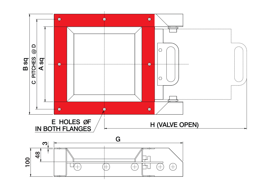 Manual Square Fabricated Slide Gate Inlet