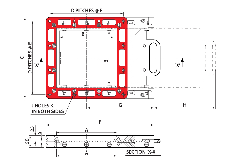 Manual Square Cast Slimslide Technical Drawing