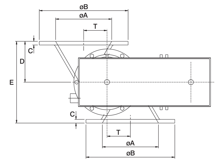 Offset Airlock Valve Technical Drawing